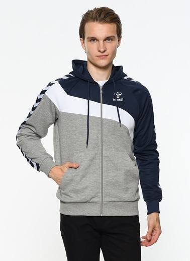 Hummel Fermuarlı Kapüşonlu Sweatshirt Gri